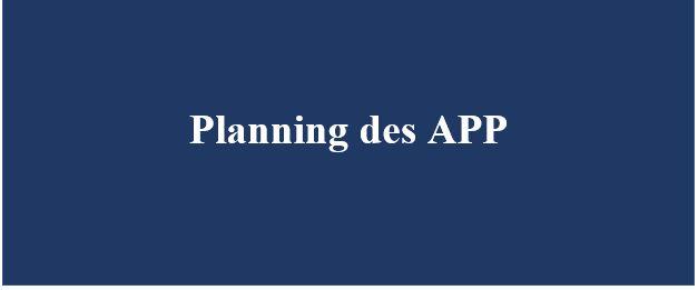 Planning des APP